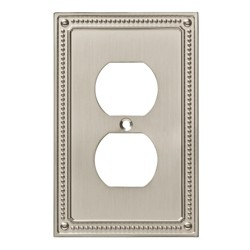 Franklin Brass Classic Beaded Single Duplex Wall Plate Nickel