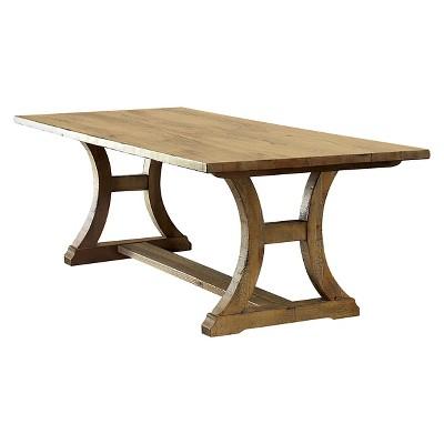 6pc Tomasina Solid Pine Wood Dining Set Rustic Pine - Sun & Pine, Brown