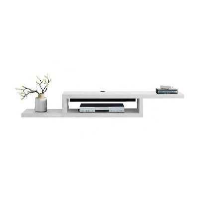 """Asymmetrical Wall Mounted Console TV Stand for TVs up to 60"""" White - Martin Furniture"""