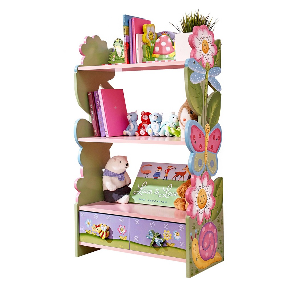 Image of Magic Garden Kids Bookshelf with Hand Crafted Designs - Fantasy Fields