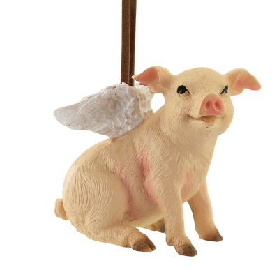"""Holiday Ornament 2.25"""" Flying Pig Christmas Wings  -  Tree Ornaments"""