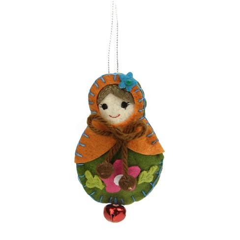 "Ganz 4"" Plush Felt Doll with Jingle Bell Christmas Ornament - Orange/Green - image 1 of 1"