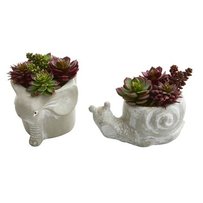 """7"""" x 6"""" 2pc Artificial Succulent Plant in Elephant and Snail Planter Set - Nearly Natural"""