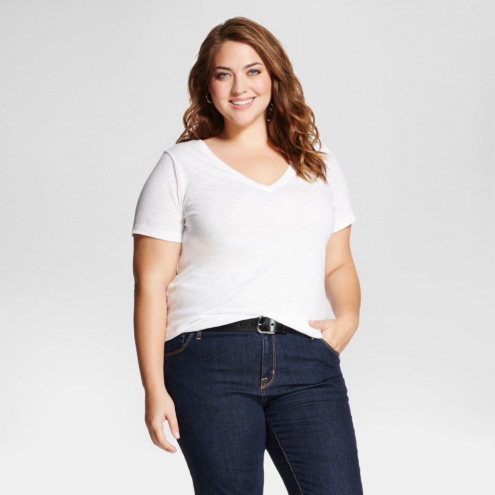Women's Plus Size Short Sleeve T-Shirt - Ava & Viv - White 2X