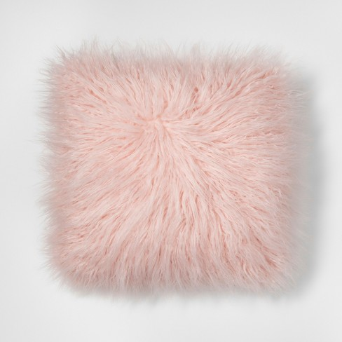 Pink Mongolian Faux Fur Throw Pillow - Project 62™ - image 1 of 2