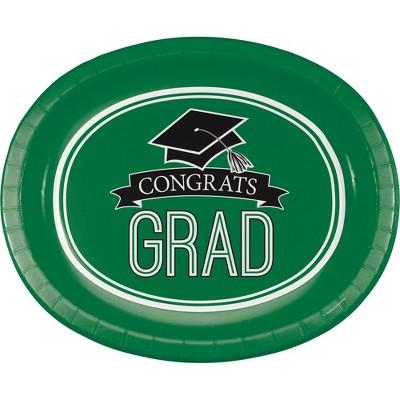 "Graduation School Spirit Green 10"" x 12"" Oval Platters - 8ct"