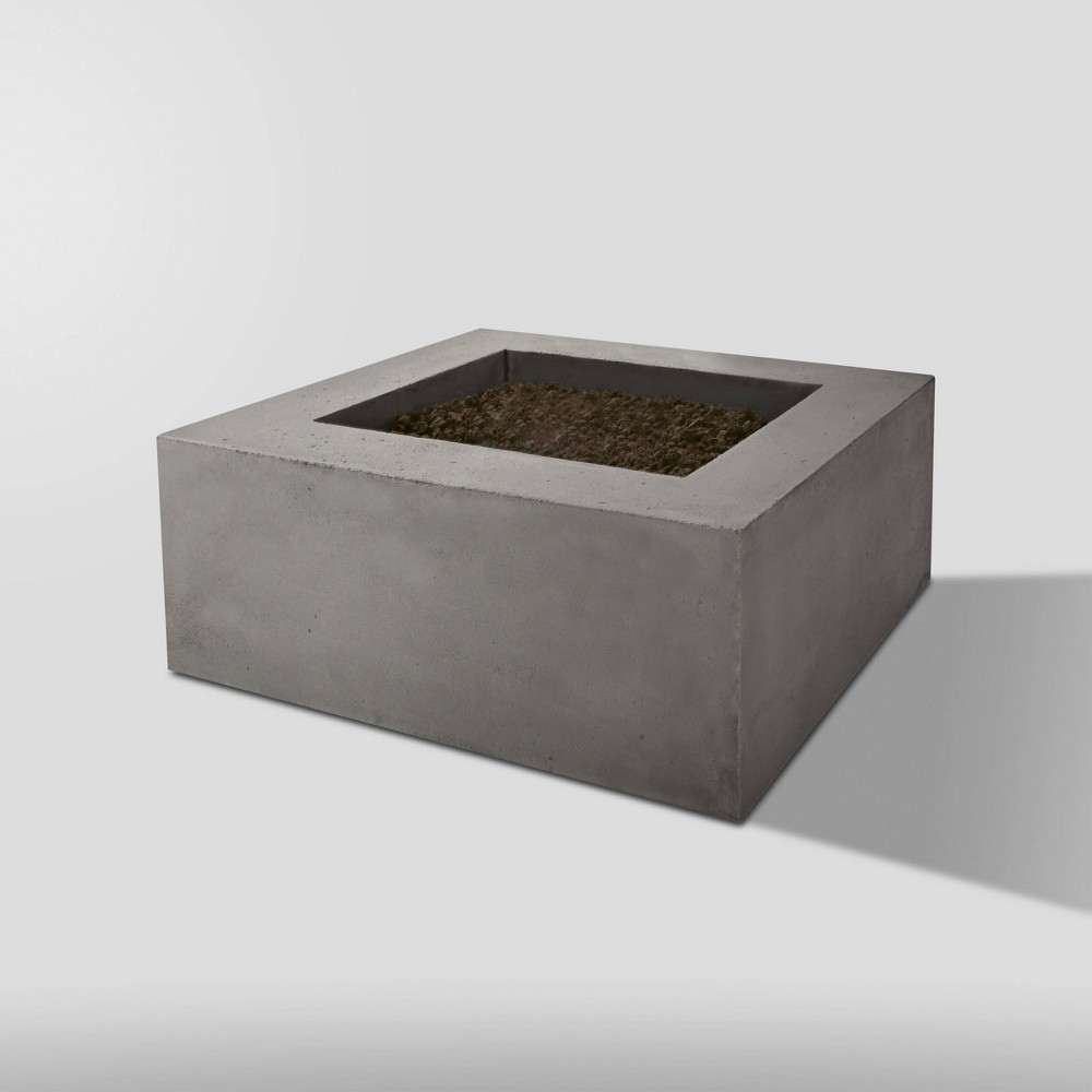 Image of Baltic Square Natural Gas Fire Table Glacier Gray - Real Flame
