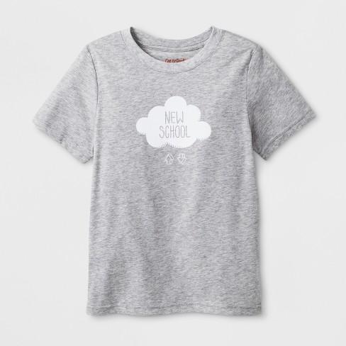 "Kids' Short Sleeve ""New School"" Graphic T-Shirt - Cat & Jack™ Gray - image 1 of 2"