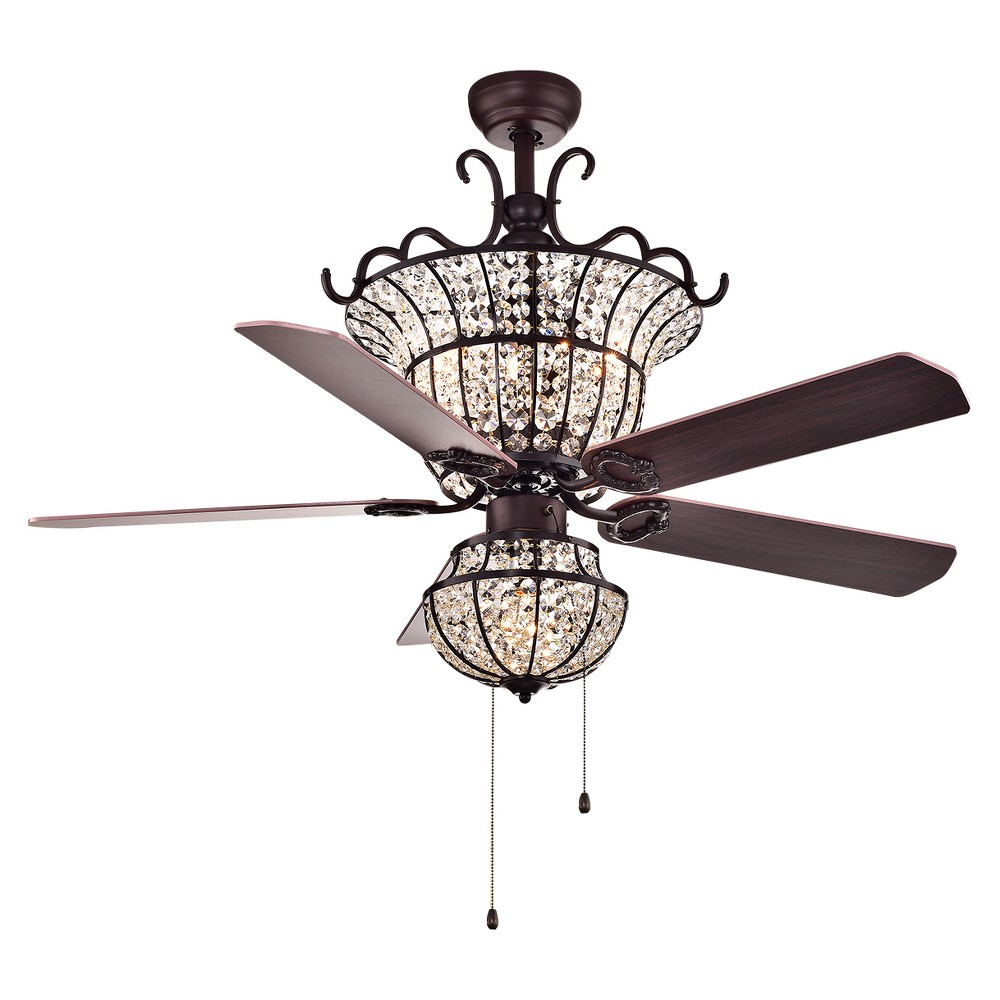 Warehouse Of Tiffany - 26 X 21 X 19 Inch Dark Chestnut Lighted Ceiling Fans