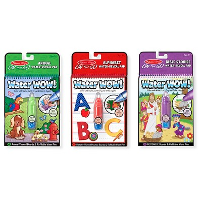 Melissa & Doug On the Go Water Wow! Activity Pads Set - Animals, Alphabet, and Bible Pads