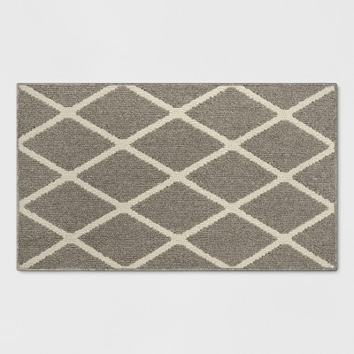 "1'8""X2'10""/20""X34"" Diamond Washable Tufted And Hooked Accent Rug Warm Gray - Threshold™"