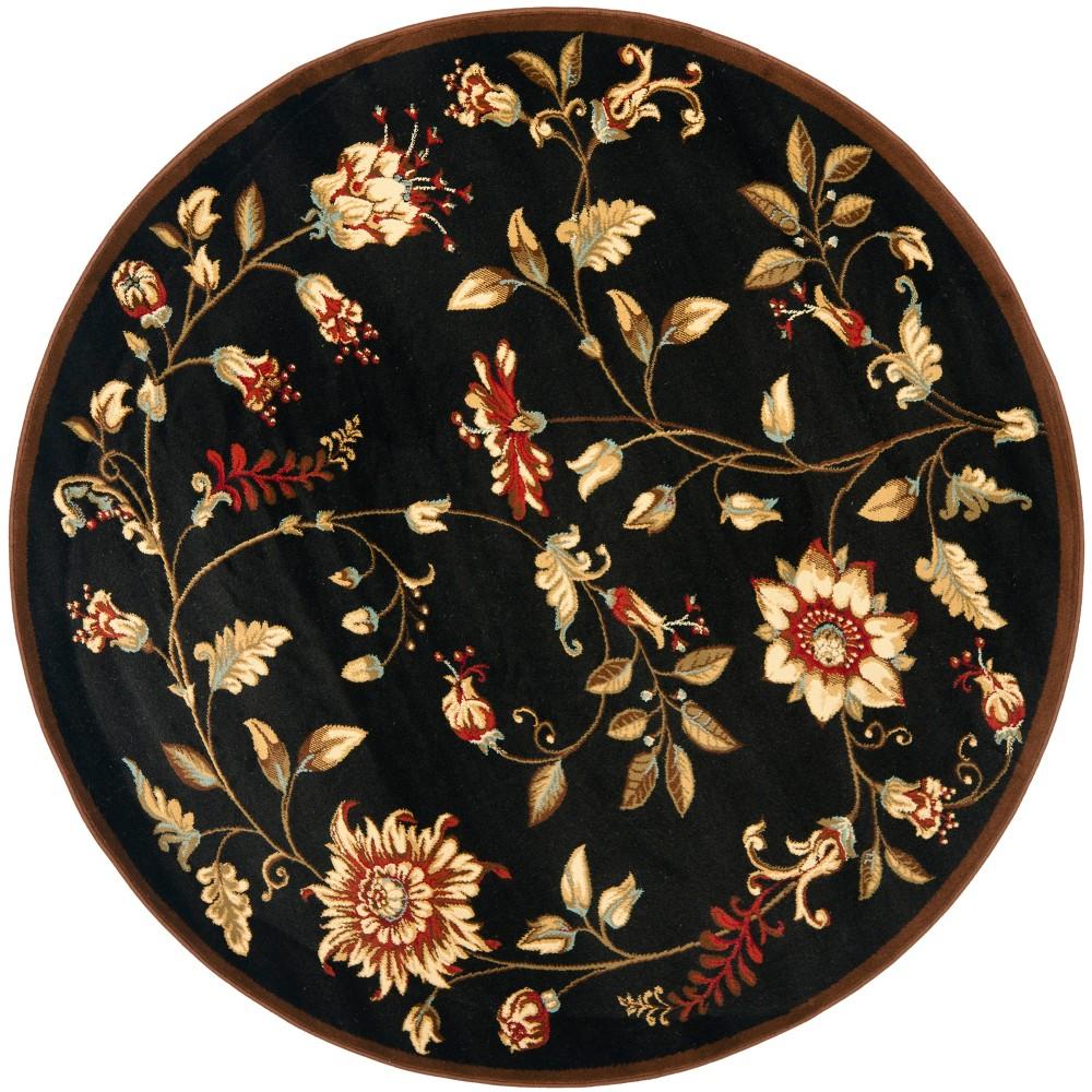 Black Floral Loomed Round Area Rug 5'3 - Safavieh