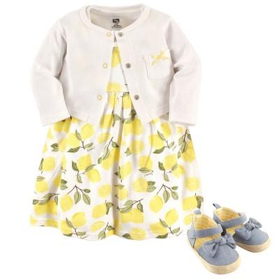 Hudson Baby Infant Girl Cotton Dress, Cardigan and Shoe 3pc Set, Lemon