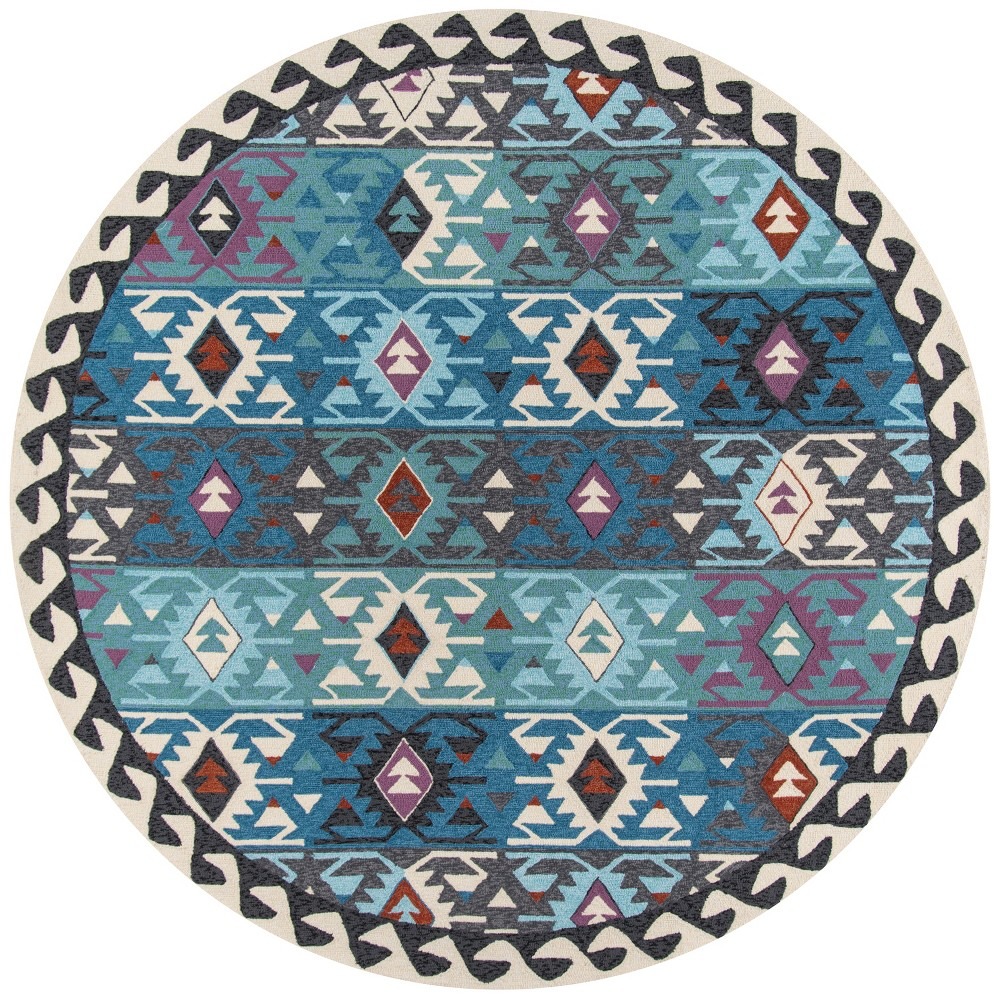 9'X9' Tribal Design Hooked Round Area Rug - Momeni, Green