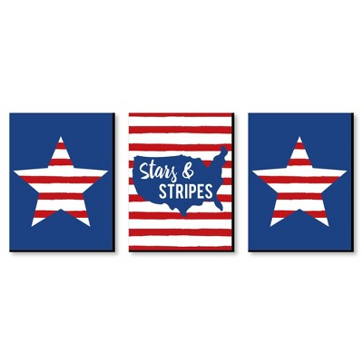 Big Dot of Happiness Stars & Stripes - Patriotic Wall Art and American Flag Room Decor - 7.5 x 10 inches - Set of 3 Prints