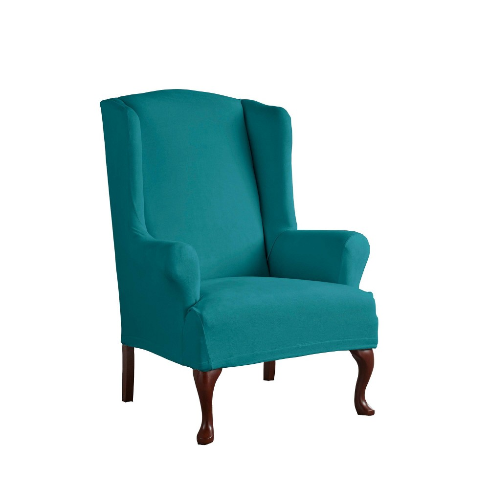 Image of Wingback Stretch Fit Slipcover Aqua - Serta, Blue