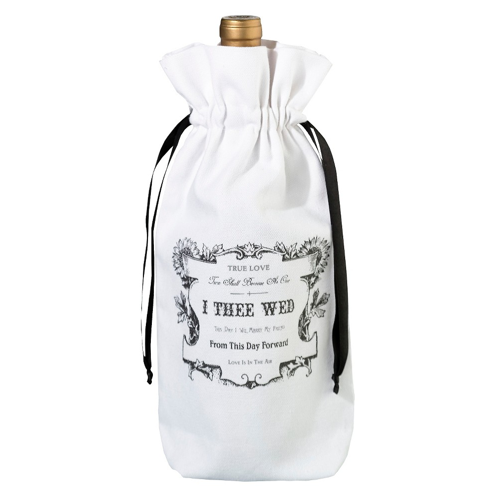 True Love Wine Bag, White Dress up a bottle of wine with this charming white wine bag.  True Love  artwork in black gives this wine bag added detail. This canvas wine bag will make the perfect table decoration at a wedding reception or anniversary party. It measures 10.75  x 6 .