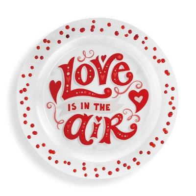 DEMDACO Love is in the Air Confetti Platter 14 x 14 - Red