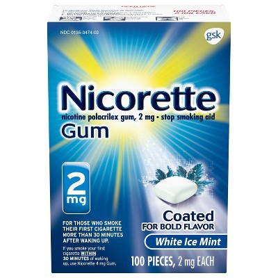 Nicorette 2mg Stop Smoking Aid Gum - White Ice Mint
