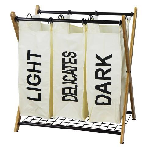 Oceanstar X-Frame Bamboo 3-Bag Laundry Sorter - image 1 of 4