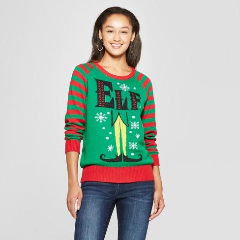 womens elf christmas sweater juniors green - Womens Christmas Sweaters
