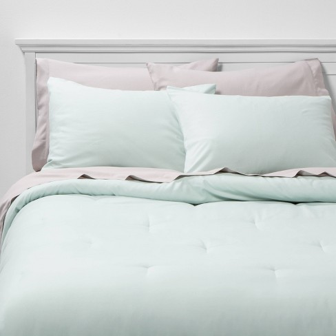 Bed in a Bag Mint Solid Microfiber with Light Gray Sheets - Room Essentials™ - image 1 of 3