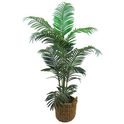 "60"" x 36"" Artificial Areca Palm in Basket with Handles - LCG Florals"