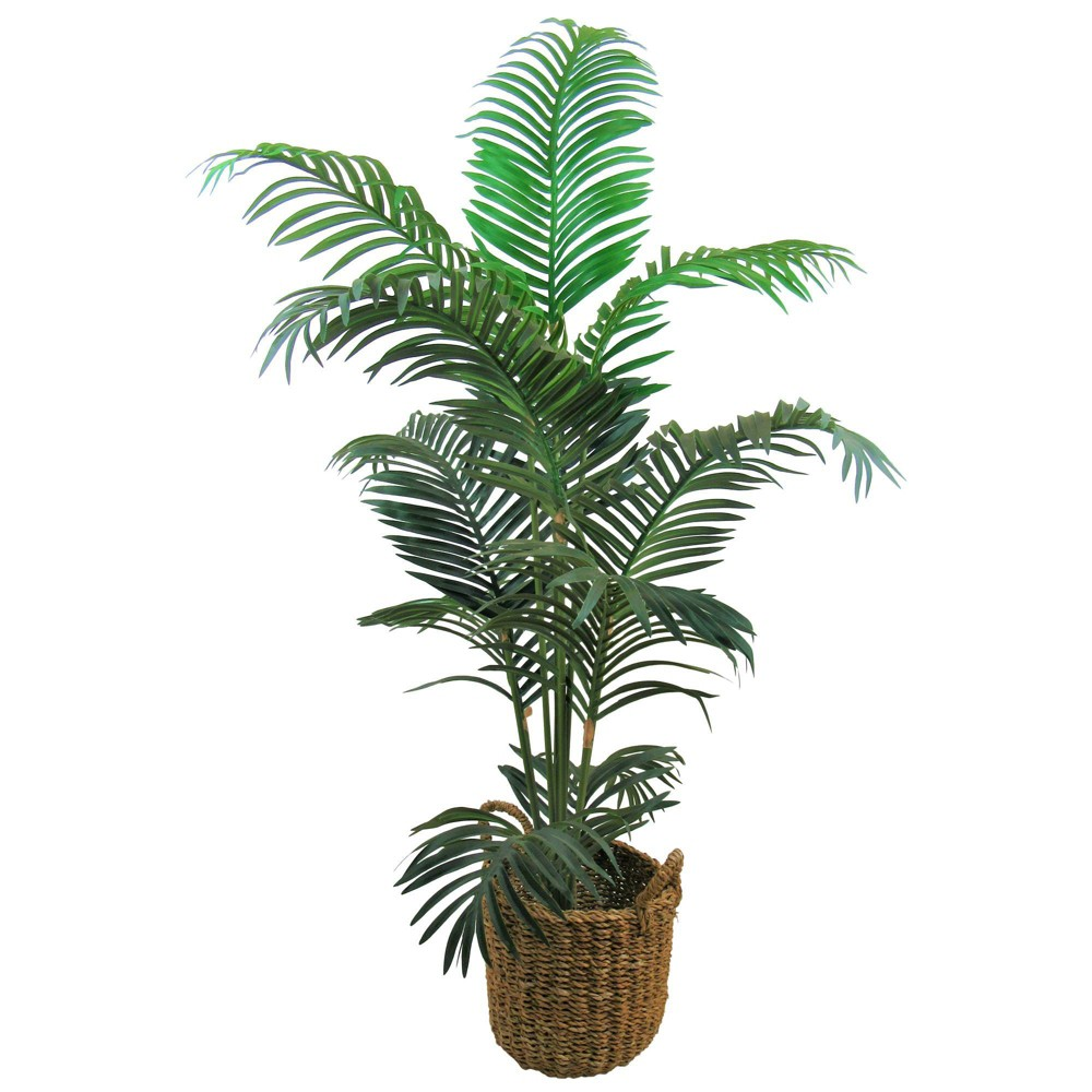 """Image of """"60"""""""" x 36"""""""" Artificial Areca Palm in Basket with Handles Green - LCG Florals"""""""