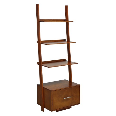 Johar 69 American Heritage Ladder Bookcase With File Drawer Cherry Red