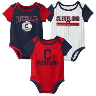 MLB Cleveland Indians Baby Boys' 3pk Bodysuit Set - 6-9M