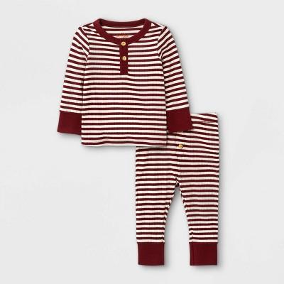 Baby Boys' 2pc Rib Striped Henley Top & Bottom Set - Cat & Jack™ Maroon 3-6M