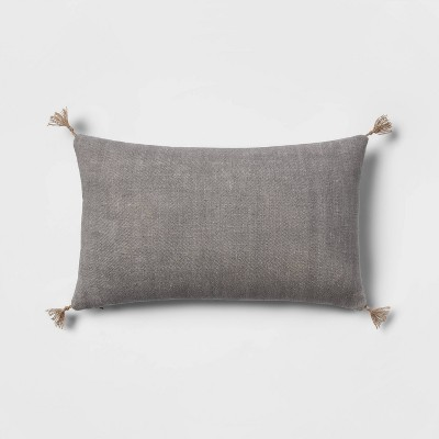 Washed Linen Lumbar Throw Pillow with Tassels Gray - Threshold™