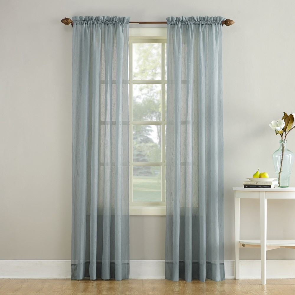 Erica Crushed Sheer Voile Rod Pocket Curtain Panel Charcoal (Grey) 51