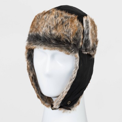 Men's Solid Twill Nylon Faux Fur Trapper Hat - Goodfellow & Co™ Black One Size