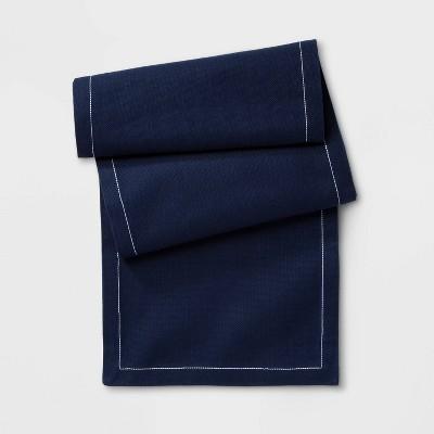 72 X14  Top Stitch Table Runner Blue - Threshold™