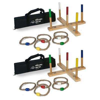 Yard Games Portable On the Go Outdoor Playground Wooden Frame 5 Rope Ring Toss Lawn Party Game with Carrying Case & Color Weighted Markers (2 Pack)