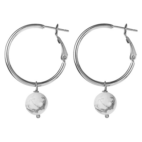 West Coast Jewelry Stainless Steel Hoop Earrings with Dangling White Turquoise Bead - image 1 of 2