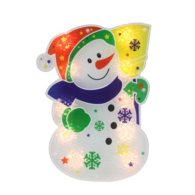 "Northlight 12.5"" Lighted White Snowman Christmas Window Silhouette Decor"