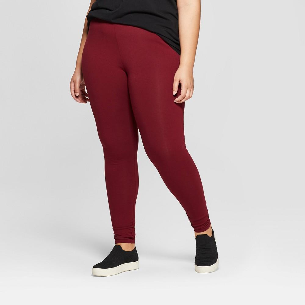 Women's Plus Size Ankle Length Leggings - Ava & Viv Burgundy (Red) 3X