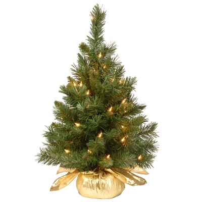2ft National Christmas Tree Company Pre-Lit Majestic Fir Artificial Christmas Tree in Gold Cloth Bag with 35 Clear lights