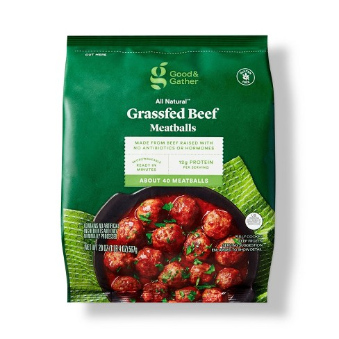 All Natural USDA Grassfed Beef Meatballs - Frozen - 20oz - Good & Gather™ - image 1 of 3