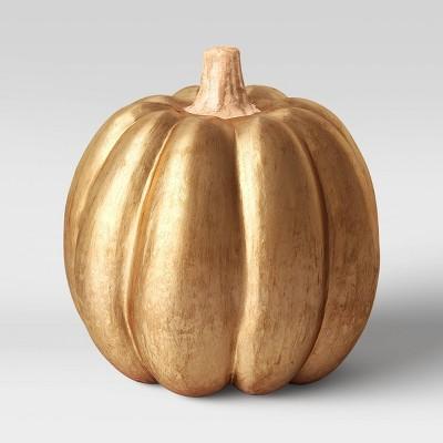 "7.75"" x 7"" Ecomix Pumpkin Figurine Gold - Threshold™"