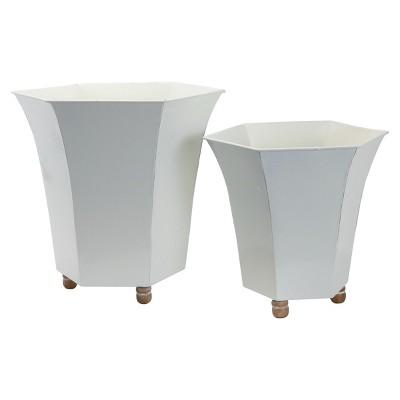 Set of 2 White Enamel Metal Planter with Wood Bead Feet - Foreside Home & Garden
