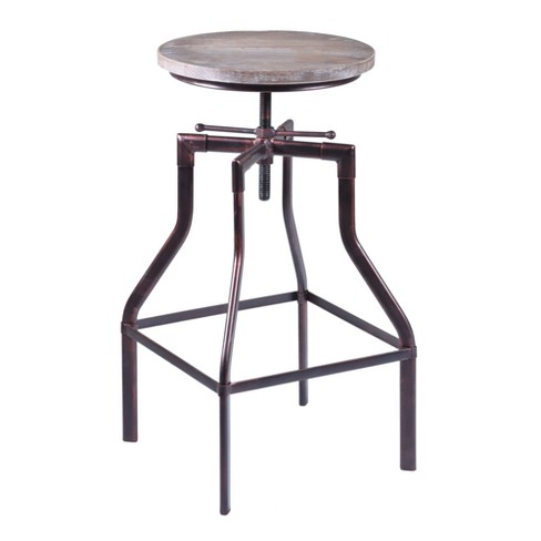 Concord Adjustable Barstool in Industrial Copper finish with Pine Wood seat - Armen Living - image 1 of 5