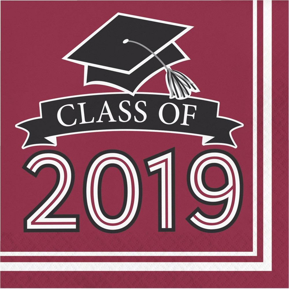 "Image of ""108ct """"Class Of 2019"""" Disposable Napkins Burgundy"""