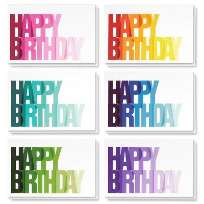 "Birthday Card - 48-Pack Birthday Cards Bulk Box Set, Happy Birthday Cards, 6 Colorful Ombre Happy Birthday with Blank on The Inside, Envelopes, 4x6"""
