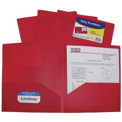C-Line Poly Portfolio Folders, Letter, 2-Pocket, Red, pk of 25
