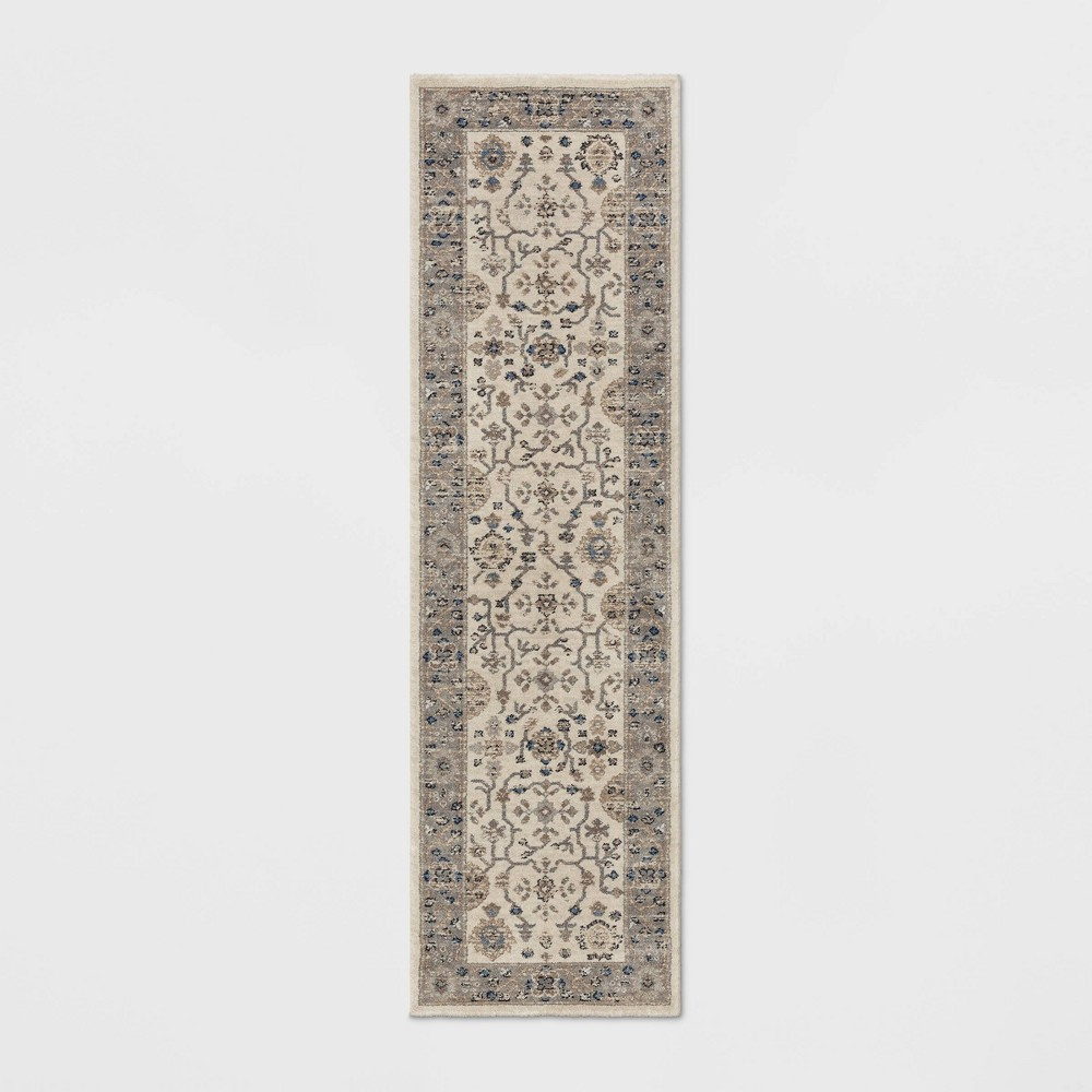 Jewel Boarder Persian Woven Runner Rug Brown