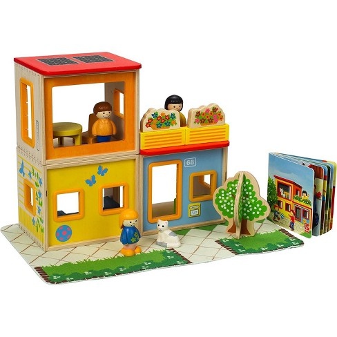 Hape Kids Happy Family Stackable Wooden City Dollhouse w/ 3 Figures and Play Mat - image 1 of 1