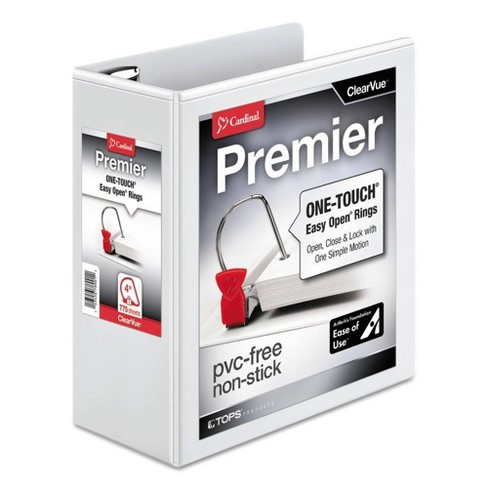 "4"" Easy-Open ClearVue Extra-Wide Locking Slant-D Ring Binder 11"" x 8.5"" White - Cardinal - image 1 of 3"